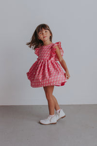 little girl's pink birthday dress