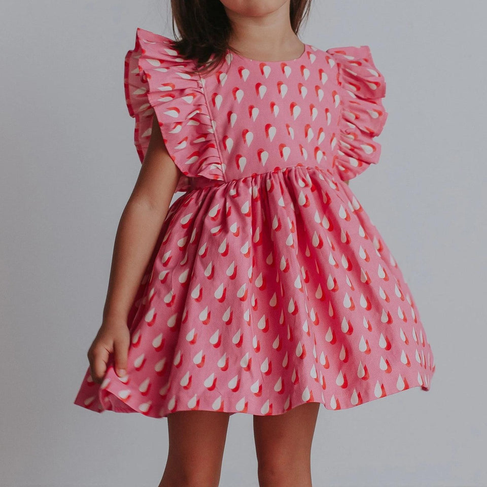 Little Girl's Pink Retro Raindrop Ruffle Dress