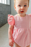 Infant Girl's Pink Gingham Ruffle Sleeve Romper