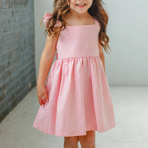 Little Girl's Pink Gingham Flutter Sleeve Dress