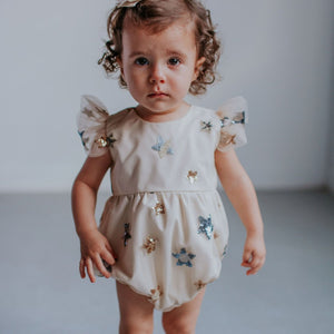 Infant Girl's Ivory Soft Tulle Lace Sequined Stars Bubble Romper