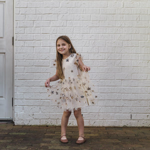 Little Girl's Ivory Soft Tulle Lace Sequined Stars Dress