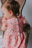 Infant Girl's Pink Floral Hoop Ring Wreath Print Bubble Romper