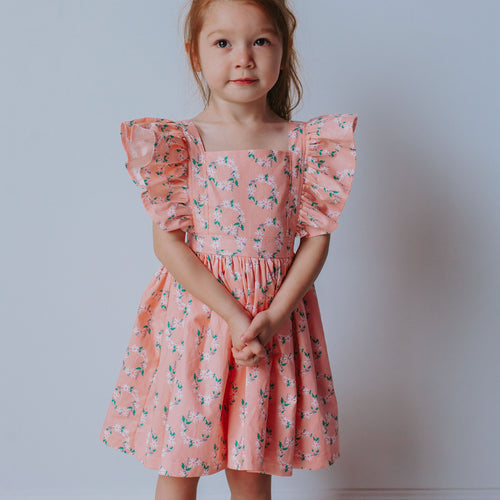 Girl's Pink Floral Hoop Ring Wreath Print Pinafore Dress