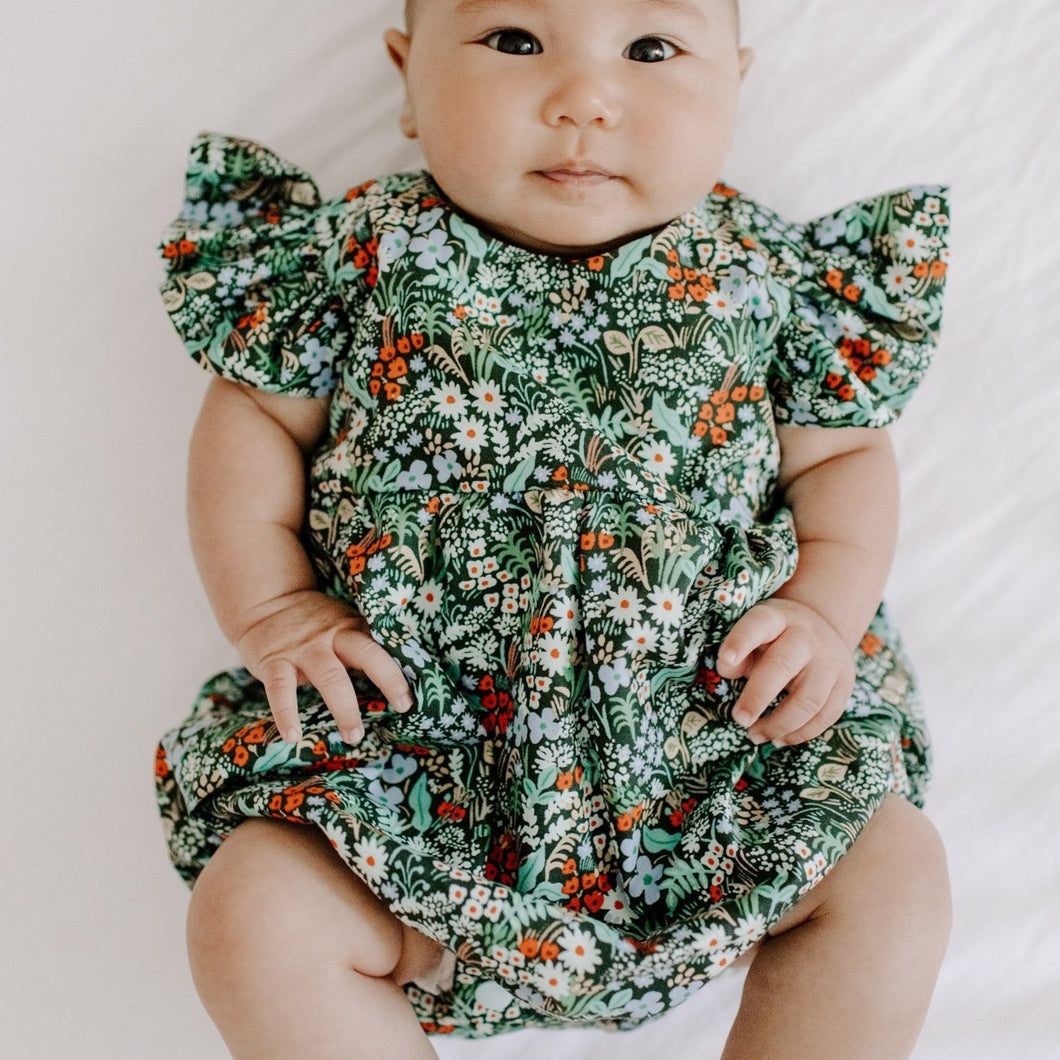 Infant Girl's Dark Green Multicolor Floral Ruffle Cotton Bubble Romper