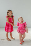 little girl's pink tie dye matching outfits