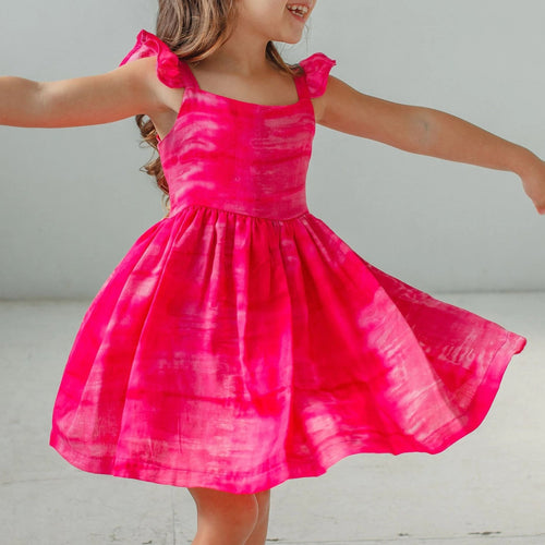 little girl's pink tie dye dress