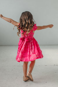 little girl's pink tie dye twirl dress