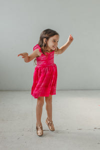 little girl's tie dye flutter sleeve dress
