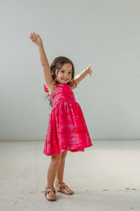 little girl's pink tie dye ruffle dress