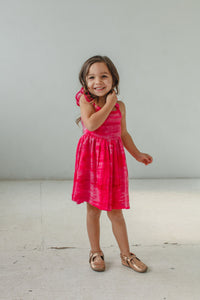 Little Girl's Pink Tie Dye Flutter Sleeve Dress