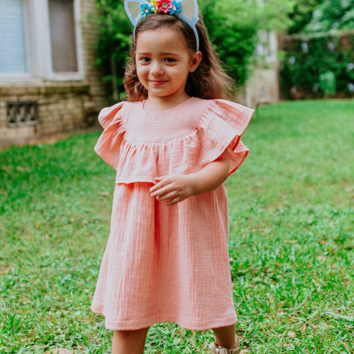 Girl's Peach Pink Double Gauze Ruffle Collar Flounce Dress