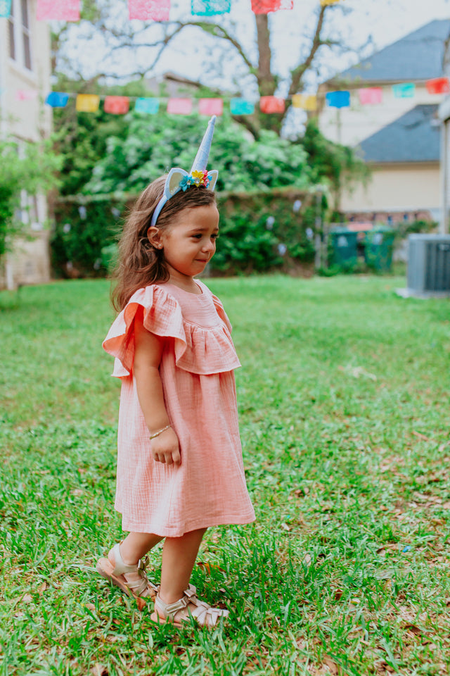 little girls pink ruffle dress