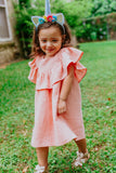 Infant Girl's Peach Double Gauze Muslin Bubble Romper