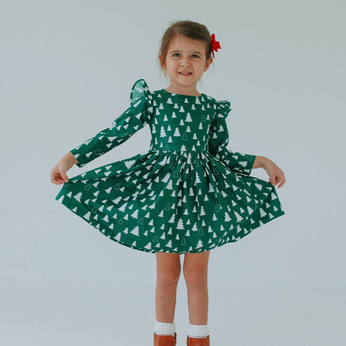 Little Girl's Green Christmas Tree Cotton Dress