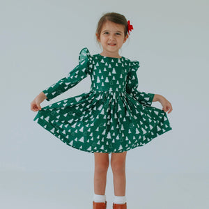 Girl's Green Christmas Tree Cotton Dress