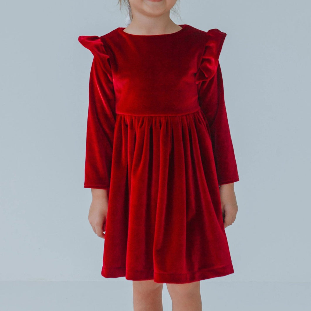 little girls red velvet dress