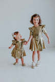 Little Girl's Gold Lycra Special Occasion Twirl Dress
