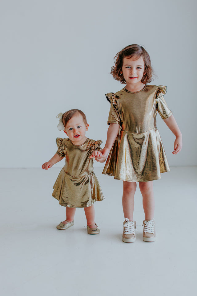 matching gold sister dresses