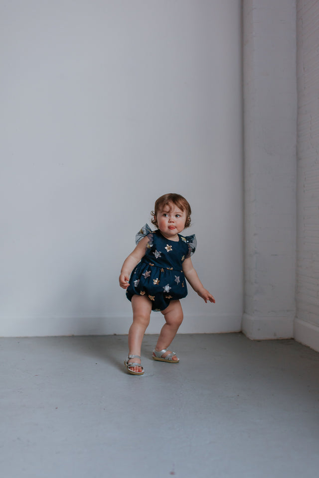navy bubble romper