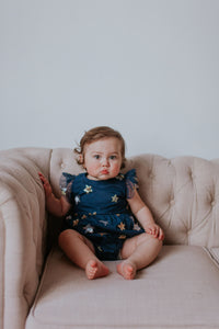 navy bubble romper with sequins