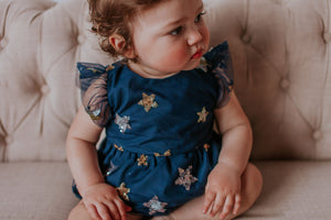 Infant Girl's Navy Soft Tulle Lace Sequined Stars Bubble Romper