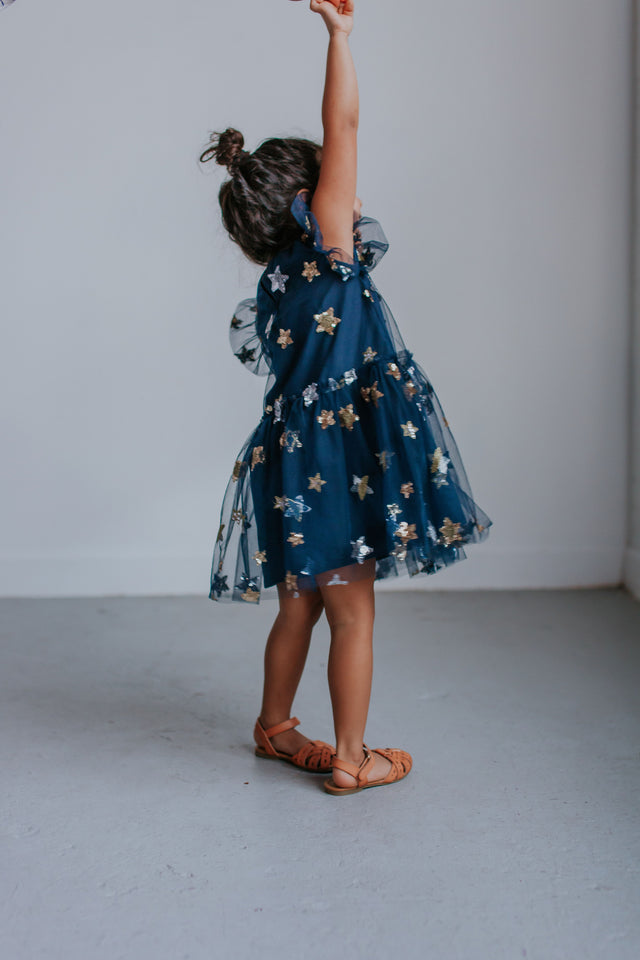 Little Girl's Navy Soft Tulle Lace Sequined Stars Bubble Dress