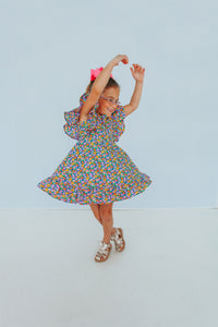 little girls ruffle floral dress