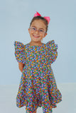 little girls ruffled floral party dress