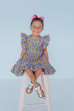 little girls ruffle floral party dress