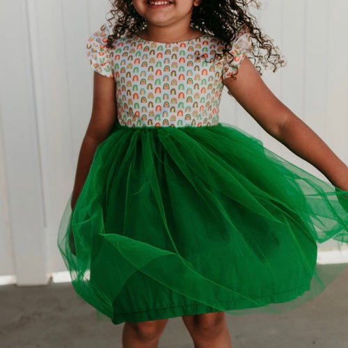 Little Girl's Kelly Green Rainbow Tulle Dress