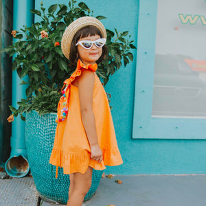 Orange pom pom dress kids