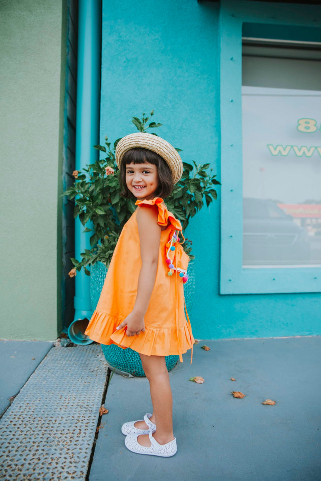 Kids pom pom trim dress