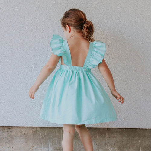 Little Girl's Mint Green Cotton Vintage Inspired Pinafore Dress