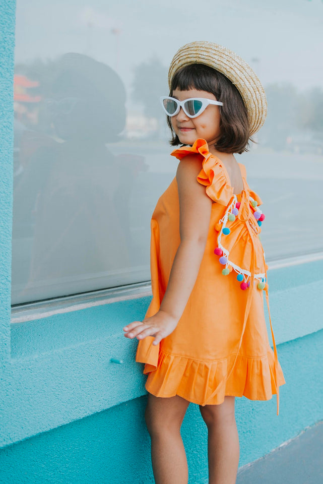 Little girls pom pom dress