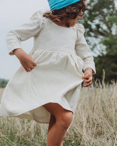 Little Girl's Long Sleeve Ivory Linen Dress