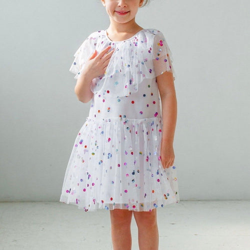 Little Girl's White Tulle Confetti Polka Dot Party Dress