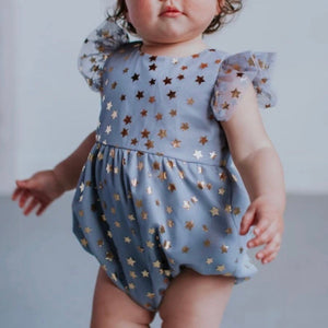 Infant Girl's Gray Tulle Bubble Romper with Metallic Gold Stars