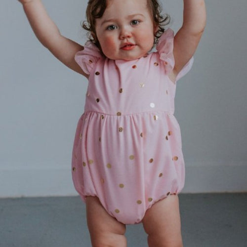pink and gold romper