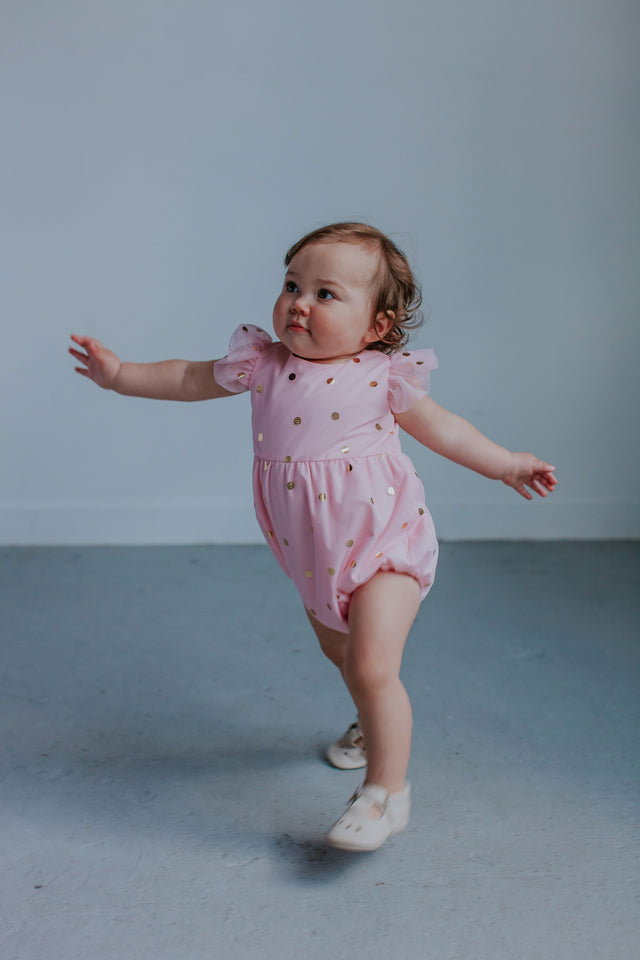 pink and gold bubble rompers