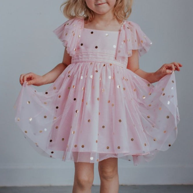 Little Girl's Pink Tulle Dress with Gold Polka Dots