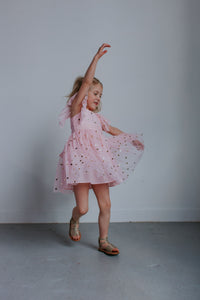 little girls pink and gold dress