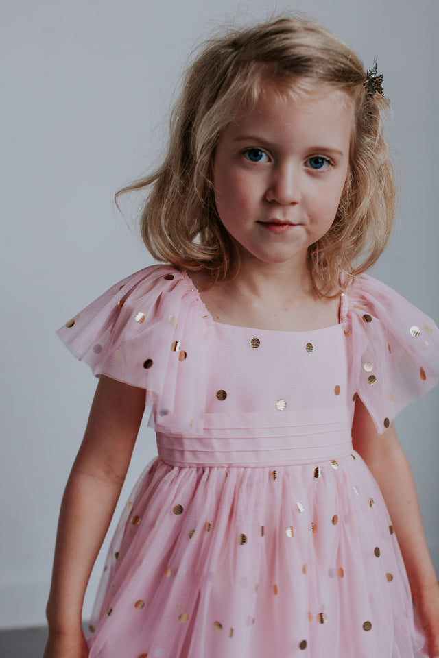 pink and gold party dress