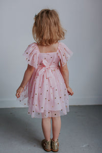 pink and gold tulle flower girl dress