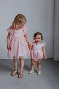 matching pink and gold outfits for girls