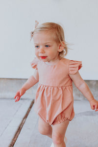 dusty rose pink first birthday outfit