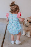 Infant Girls Aqua and Pink Sushi Print Themed Bubble Romper