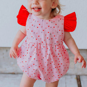 Infant Girls Red & Pink X's and O's Valentine's Day Bubble Romper