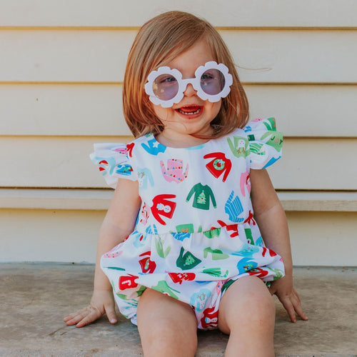 Infant Girl's Multicolor Christmas Sweater Print Cotton Bubble Romper.