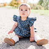 little girls bee print romper